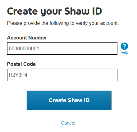 Enter account number and postal code