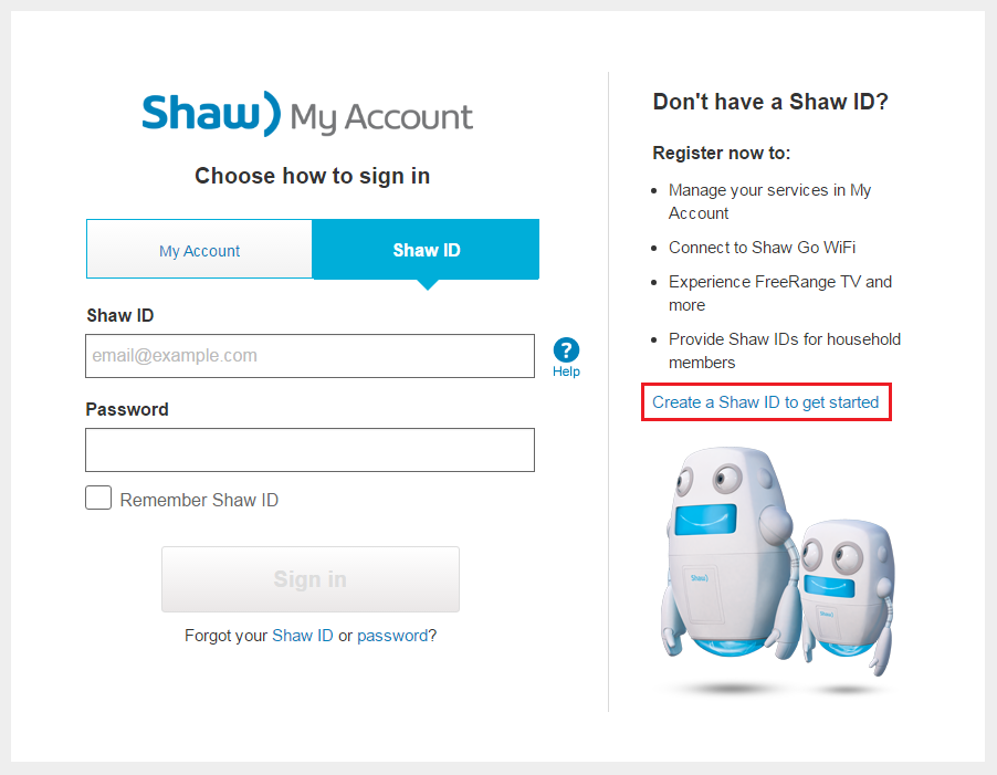 Register for My Shaw account