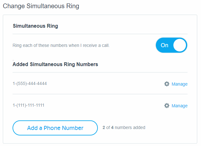 Simultaneous ring settings