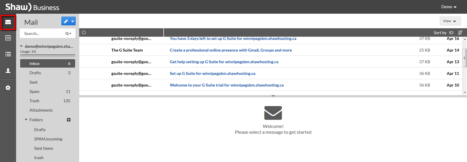 Shaw hosting webmail inbox