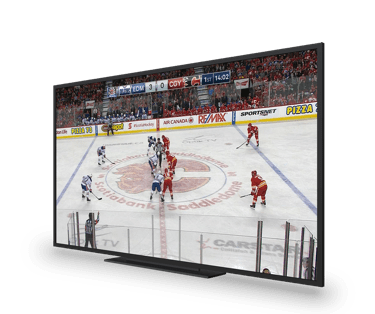 A tv showing a hockey game