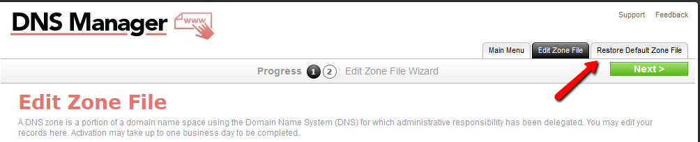 Restore default Shaw hosting zone file