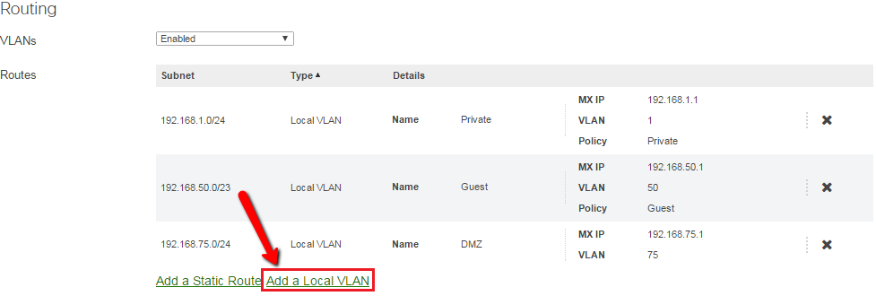 Adding a local VLAN