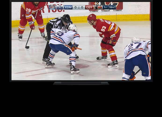 Hockey game on TV