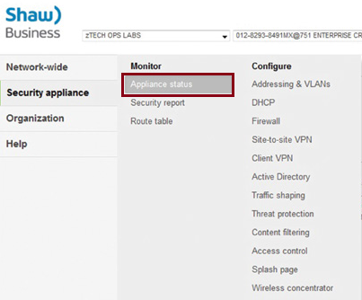 SmartSecurity Appliance status settings