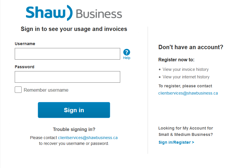 Shaw business online portal