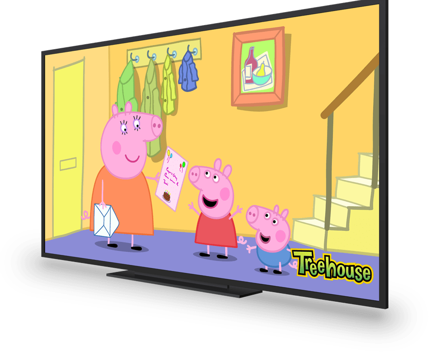 A tv showing a kids' animated show
