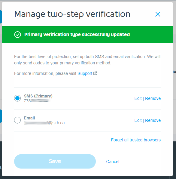 How to change or disable Two-Step Verification for My Shaw