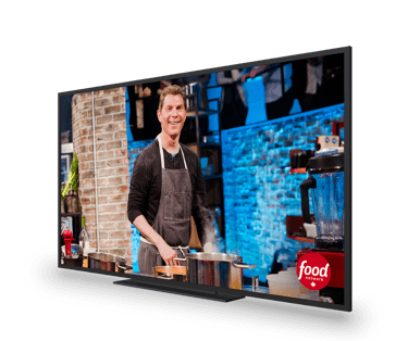 A tv showing a cooking show
