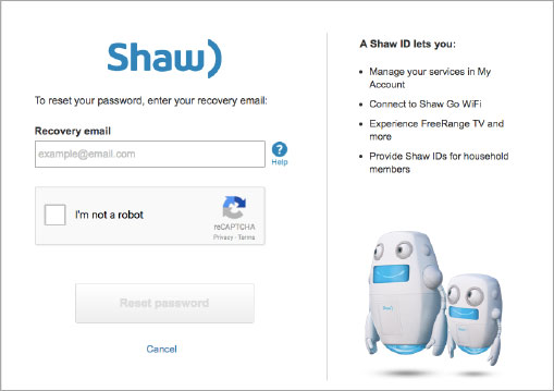 My Shaw Email recovery / Password Reset