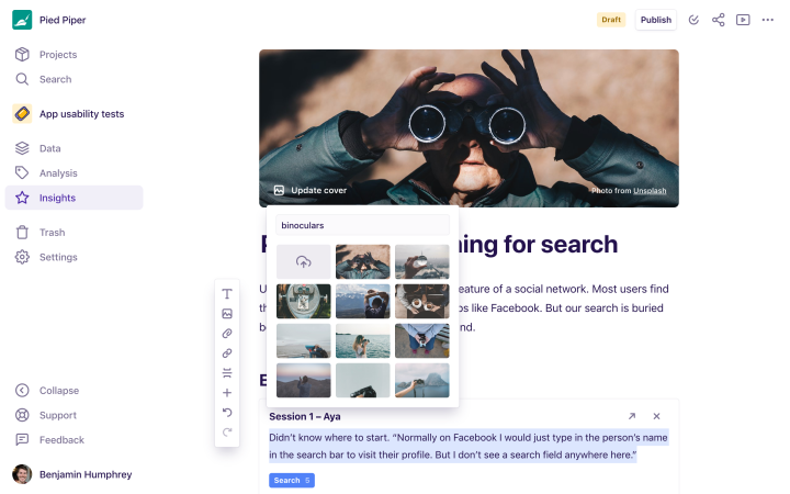 Screenshot showing the cover image search with Unsplash.