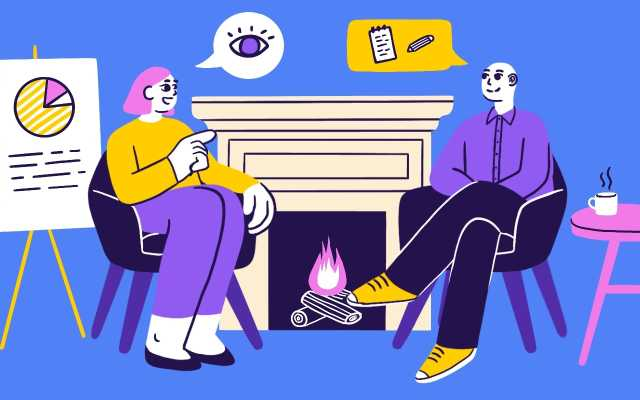 Illustration of Dovetails's Jess Nichols and Academy Xi's Eric Lutley sitting down to chat about qualitative research.