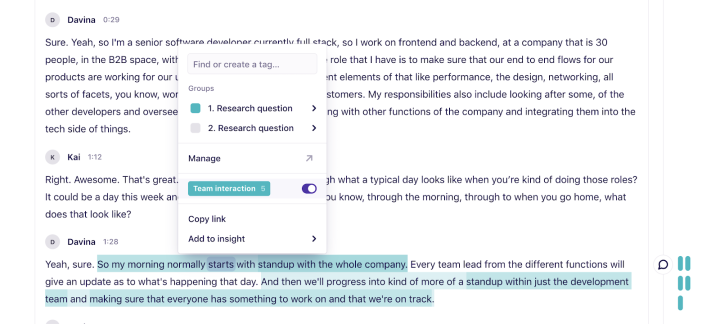 "An example of the approach of highlighting thoughts or sentences individually with the same ""team interactions"" tag."