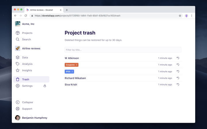 Screenshot of project trash in Dovetail.