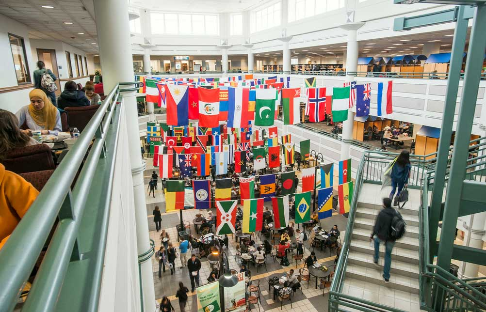 International flags at George Mason University