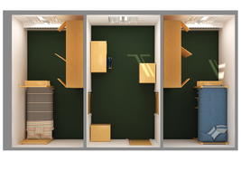 Floorplan for Corner Double Rooms at Colorado State University