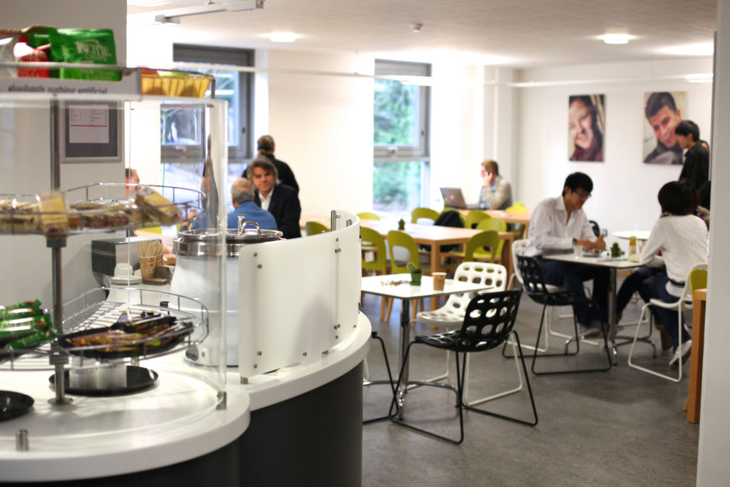 Staff and students using the INTO Centre cafe