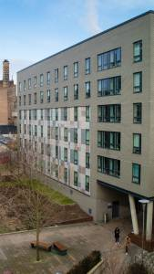 Exterior photo of INTO student residences at Bernicia Halls