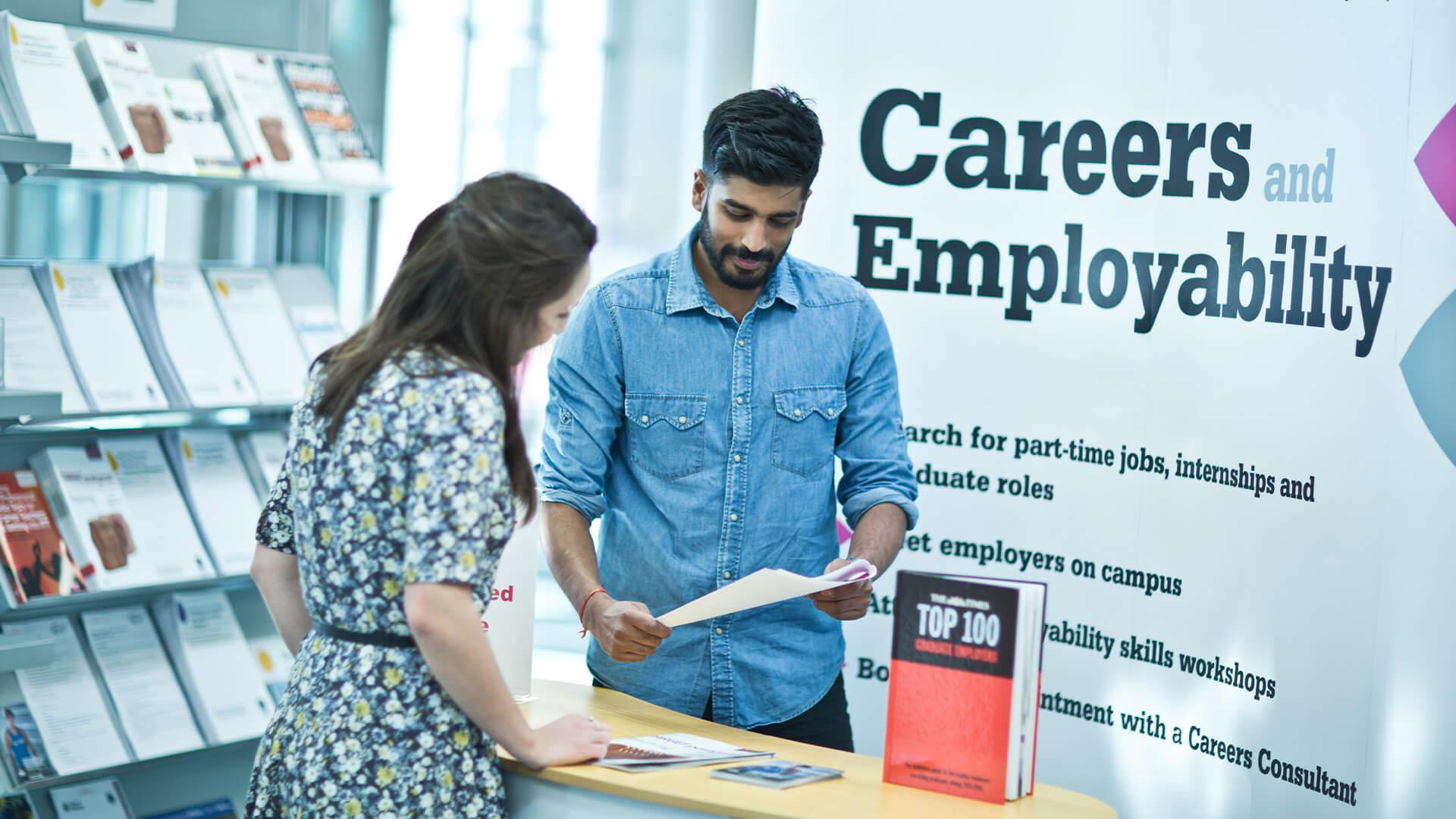 International student using Manchester Metropolitan University's careers and employability service