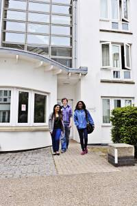 Students outside an entrance to Park Villas student accommodation