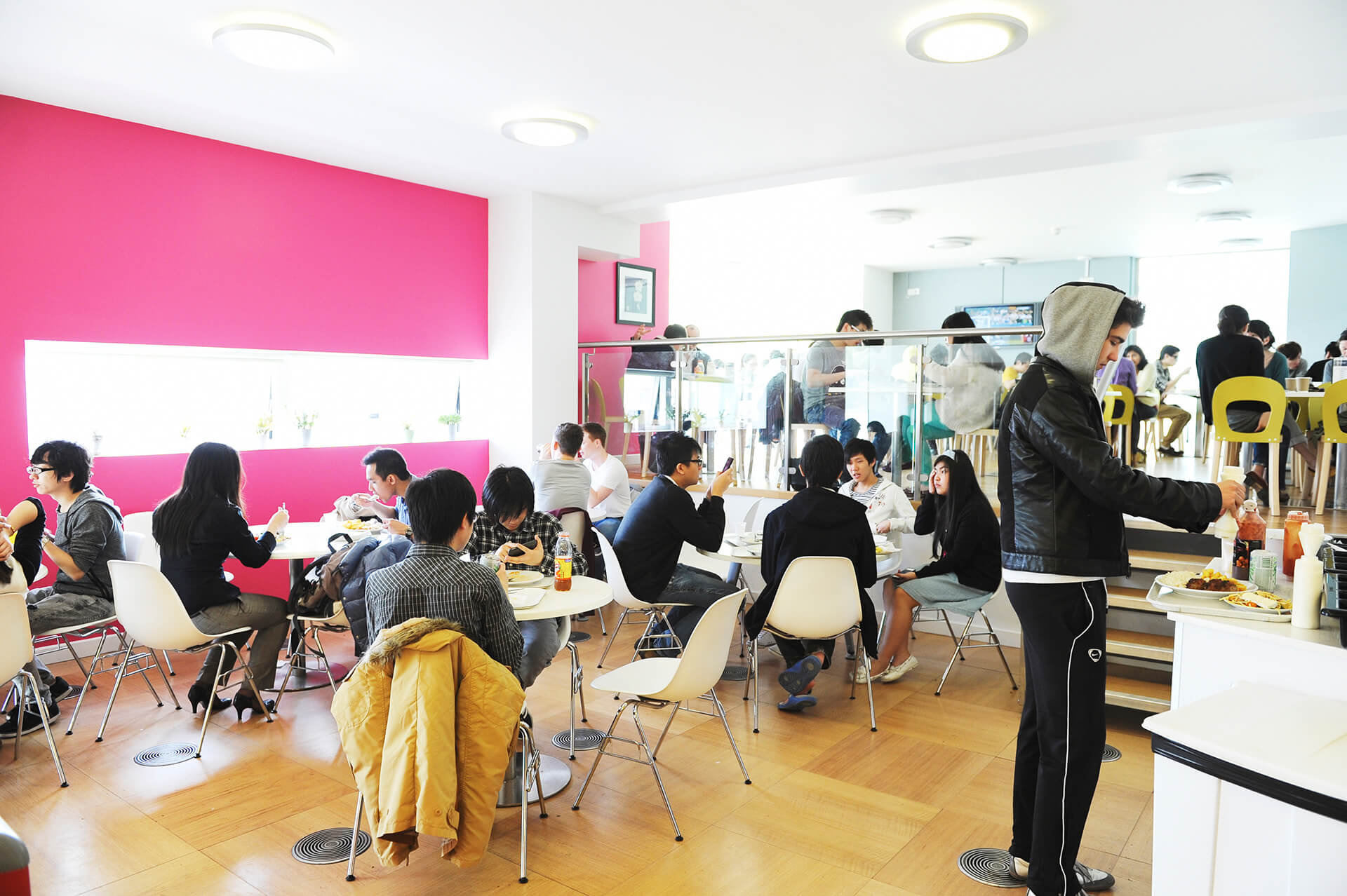 Students eating at the INTO cafe