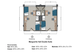 Marguerite Hall Double Suite Floorplan at Saint Louis University