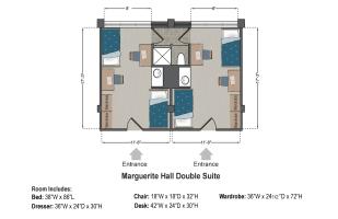 Marguerite Hall Double Suite Floorplan at Saint Louis University