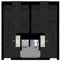 Bathroom floor plan for accommodation at Oregon State University