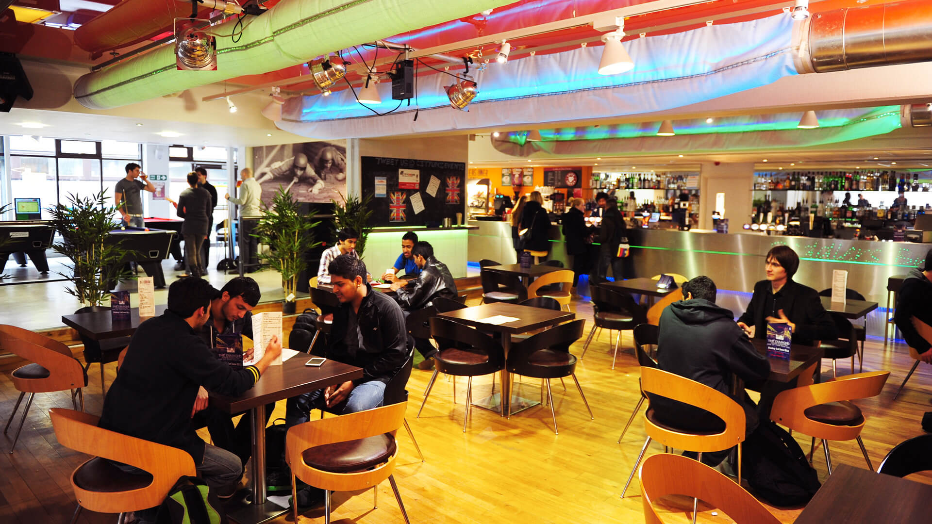 Students gathered in Tait Bar and Cafe at City, University of London