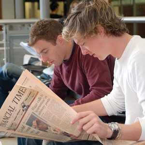 Photo of students reading the Financial Times