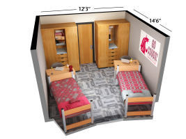 Double Room Floorplan at Washington State University for International Students