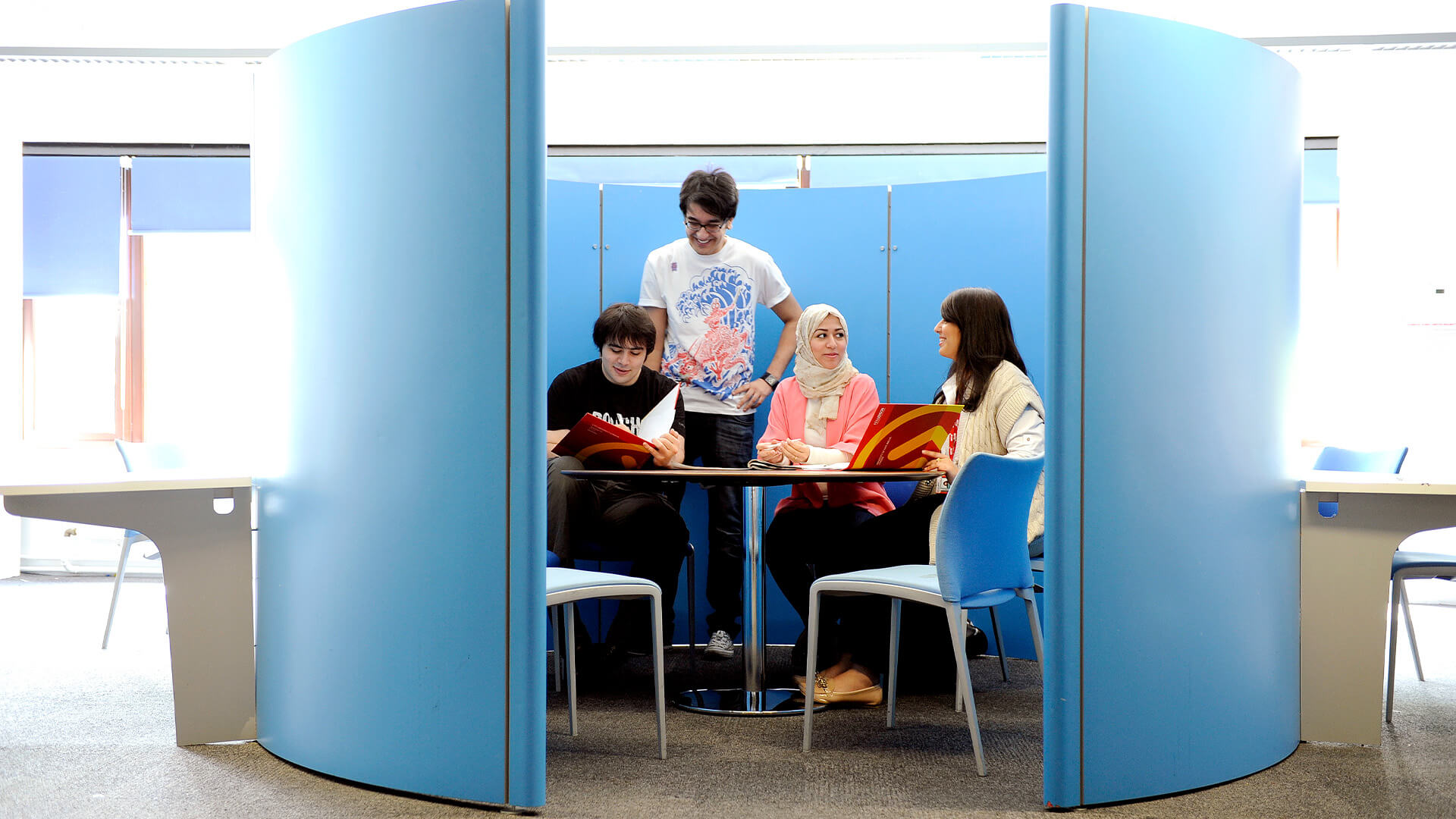International students using study pods at City, University of London