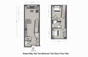 Robert May Hall Two Bedroom Two Story Floor Plan