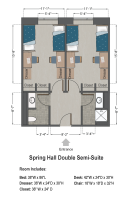 Double Semi-Suite Floorplan in Spring Hall