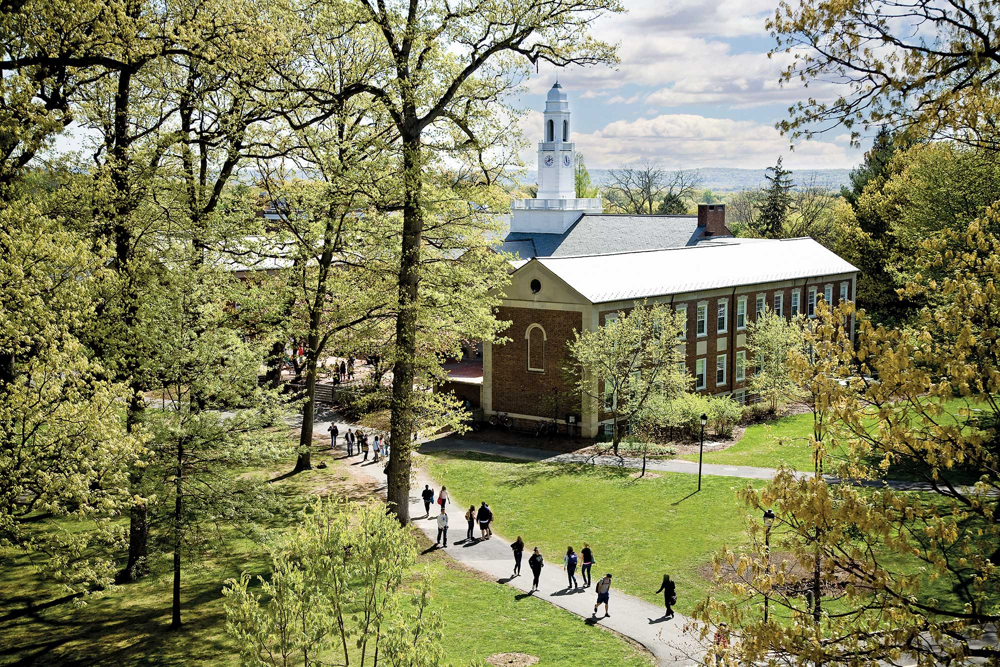 Drew students walking on campus in spring