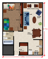 Double Room Floorplan in Denman Hall at The University of Alabama at Birmingham