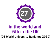 27th in the world and 6th in the UK (QS World University Rankings 2020)