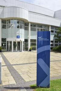 View of main entrance to the INTO Centre building