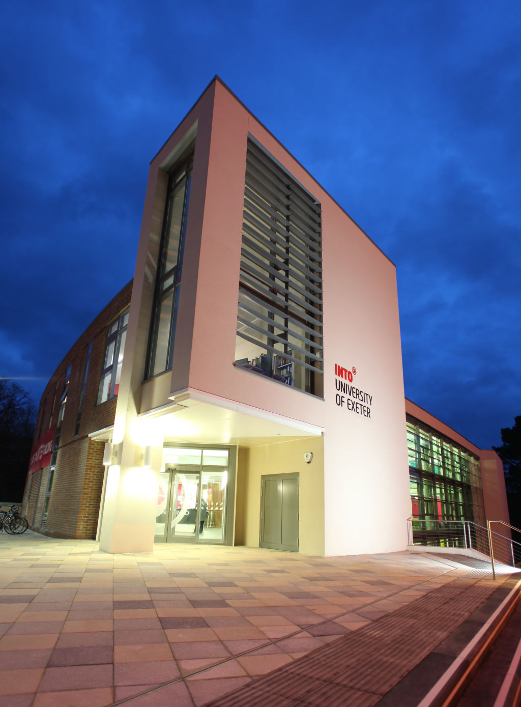 Outside University of Exeter INTO Centre in evening