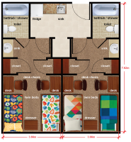 Double Room Floorplan at The University of Alabama at Birmingham