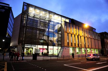 External view of the INTO Centre Newcastle in evening