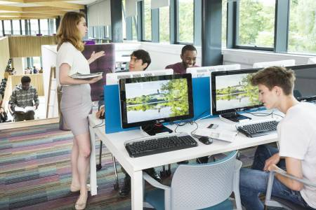 Learning Resource Centre with international students using computers