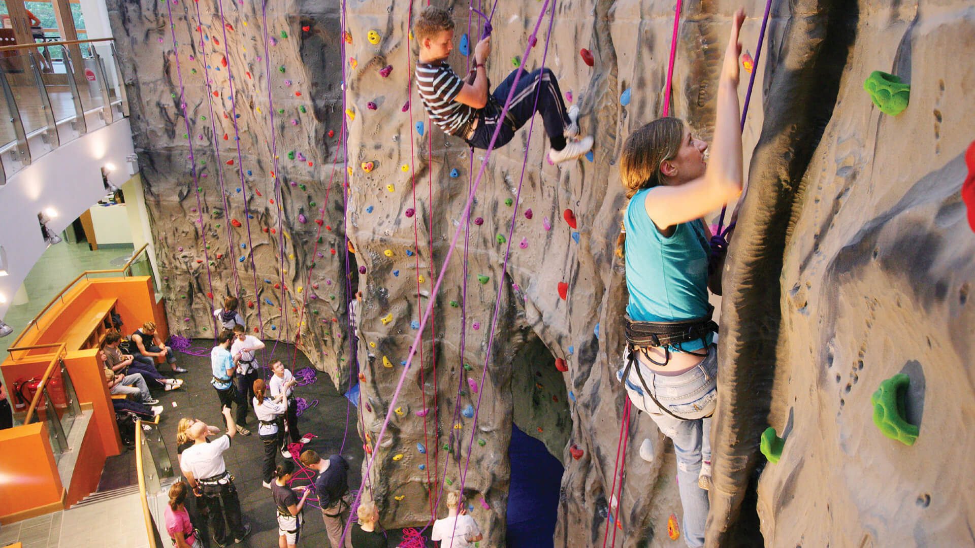 Students using the on-campus climbing wall at Queen's University Belfast