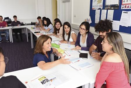Classroom with international students and teacher in INTO Centre