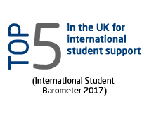 Top 5 in the UK for international student support (International Student Barometer 2017)