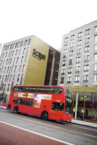 Exterior of Scape East student accommodation in London