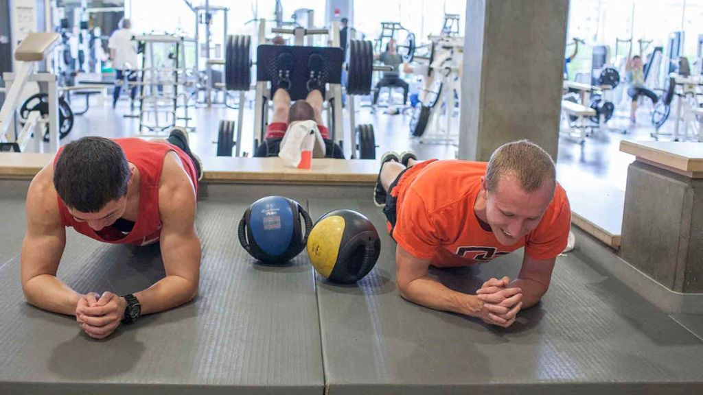 Oregon State University students at gym