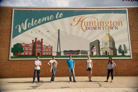 Downtown Huntington sign at Marshall University