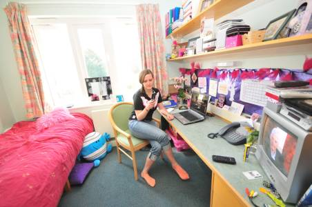 Student at their desk in Park Villas student accommodation