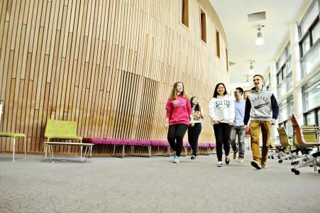 International students walking through INTO Centre